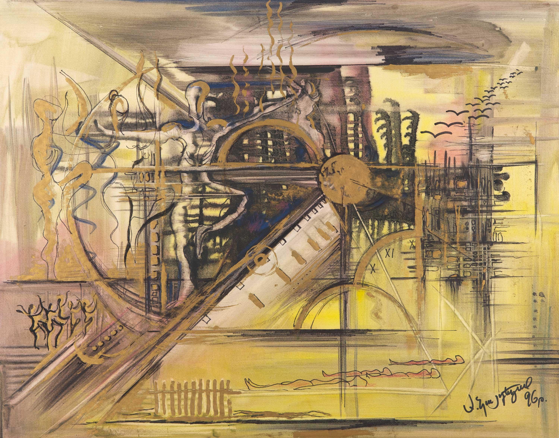Der goldene Zaun. 1996. 82 x 65 cm%