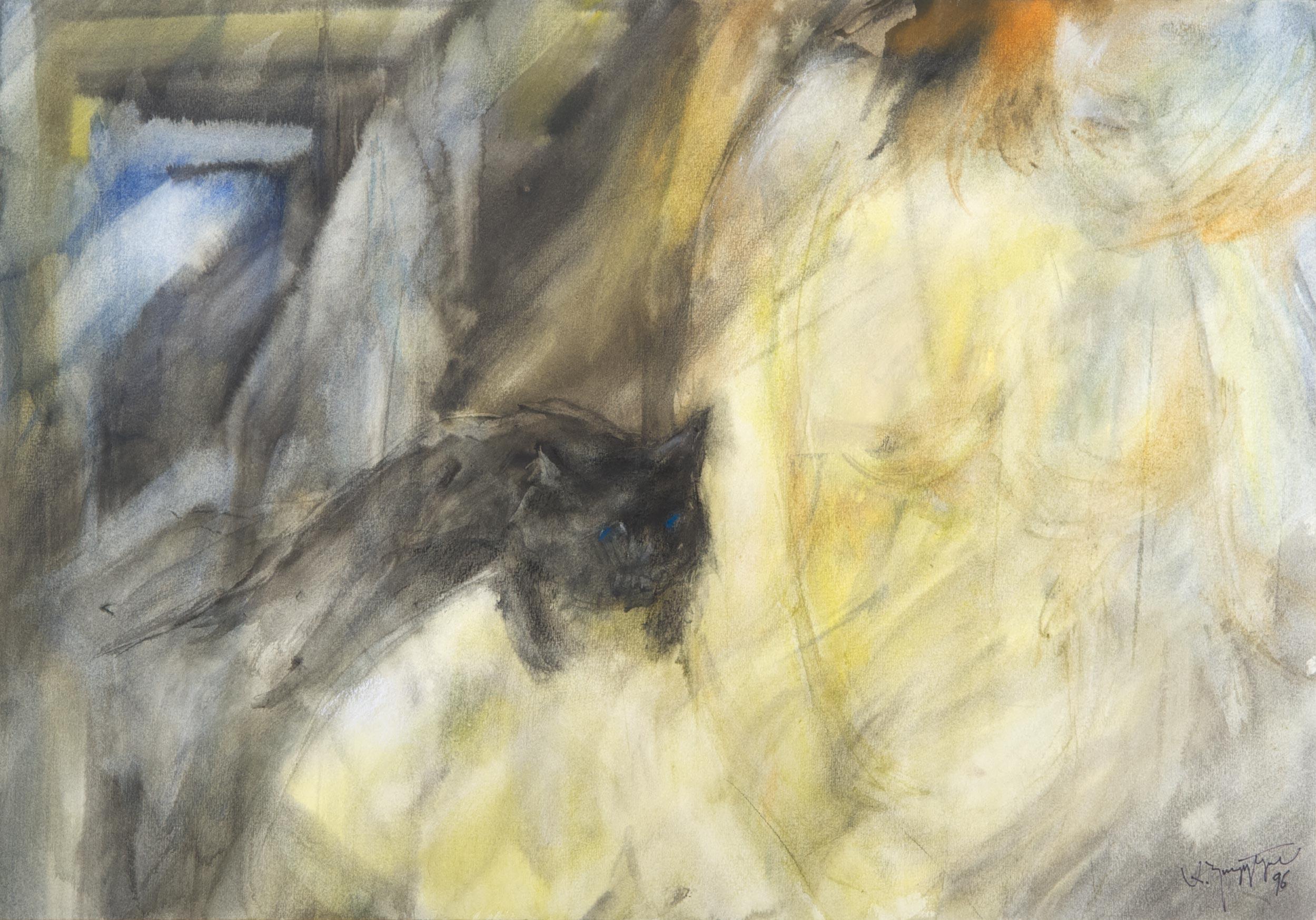 Schwarze Katze. 1996. 73 x 51 cm%